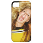 Cheerleader flipping hair, laughing, surrounded iPhone 5 cover