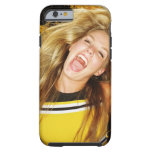 Cheerleader flipping hair, laughing, surrounded tough iPhone 6 case