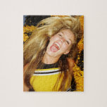 Cheerleader flipping hair, laughing, surrounded jigsaw puzzle
