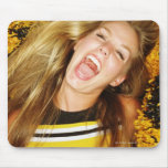 Cheerleader flipping hair, laughing, surrounded mouse pad