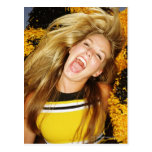 Cheerleader flipping hair, laughing, surrounded postcard