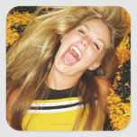 Cheerleader flipping hair, laughing, surrounded square sticker
