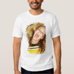 Cheerleader flipping hair, laughing, surrounded tee shirt