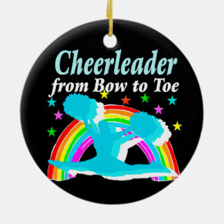 CHEERLEADER FROM BOW TO TOW CERAMIC ORNAMENT