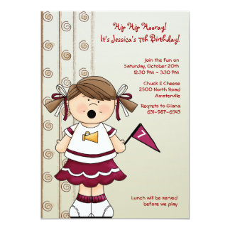 Cheerleader Girl Birthday Party Invitation
