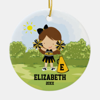 Cheerleader Girl Christmas Ornament Black Gold