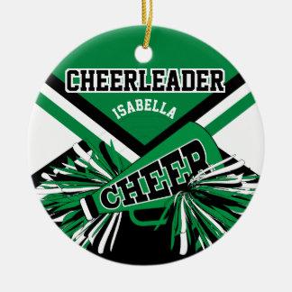 Cheerleader - Green, Black and White Ceramic Ornament