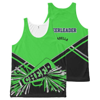 Cheerleader -Green, Silver and Black All-Over-Print Tank Top