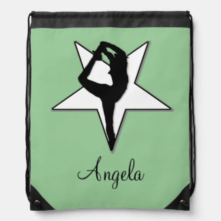 Cheerleader in green drawstring backpack
