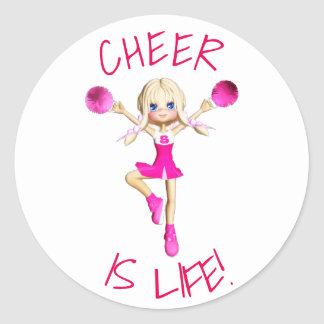 Cheerleader In Hot Pink Cheer Is Life Classic Round Sticker