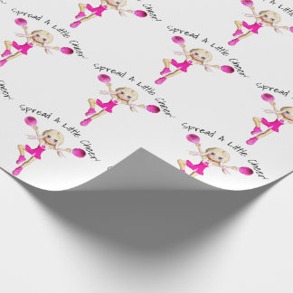 Cheerleader In Hot Pink Spread A Little Cheer Wrapping Paper