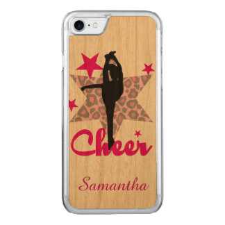 Cheerleader in pink in Cherry wood Iphone 6 Carved iPhone 7 Case