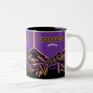 Cheerleader in Purple, Gold and Black Two-Tone Coffee Mug