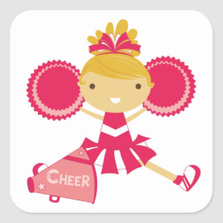 Cheerleader in Red Square Sticker