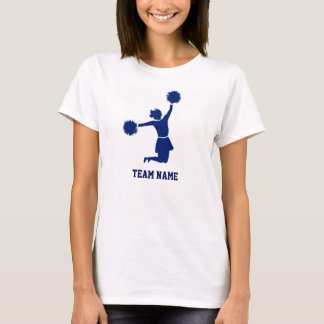 Cheerleader In Silhouette Jumps Poms Blue Tee