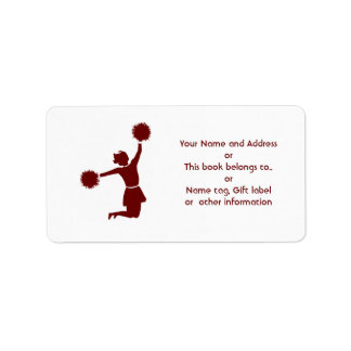 Cheerleader In Silhouette Name And Address Label