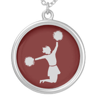 Cheerleader In Silhouette Sterling Silver Necklace