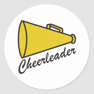 CHEERLEADER MEGAPHONE CLASSIC ROUND STICKER