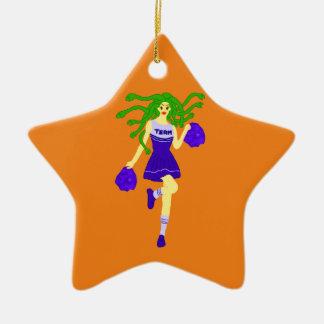 cheerleader monster ceramic ornament