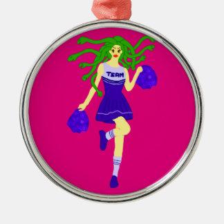 cheerleader monster metal ornament
