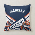 Cheerleader Outfit in Dark Blue and Orange Throw Pillow