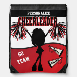 Cheerleader Personalize | Red White Black Drawstring Bag