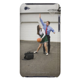 Cheerleader playing basketball with her father iPod touch covers