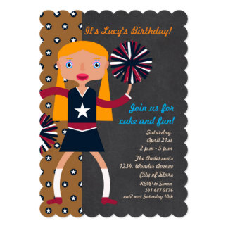 Cheerleader Pompoms girl Birthday Party Card