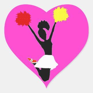 Cheerleader Silhouette Heart Sticker
