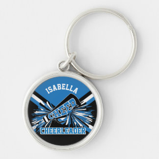Cheerleader Spirit - Blue, Black and White Keychain