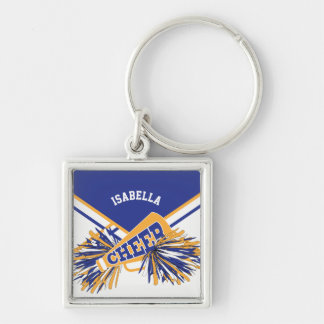 Cheerleader Spirit -Blue, Gold and White 2 Keychain