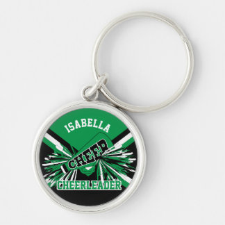 Cheerleader Spirit - Green, Black and White Keychain