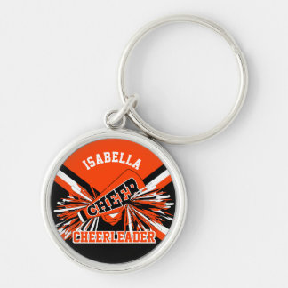 Cheerleader Spirit - Orange, Black and White Keychain