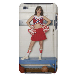 Cheerleader standing on bench near basketballs, Case-Mate iPod touch case