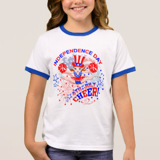 Cheerleader's, Independence Day, 4th July, Cheer Ringer T-Shirt