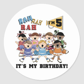 Cheerleading 5th Birthday Tshirts and Gifts Classic Round Sticker