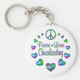 Cheerleading d'amour de paix porte-clé rond