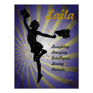 Cheerleading Girls ANy Name Art Print Poster