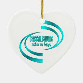 Cheerleading Makes Me Happy Ceramic Ornament