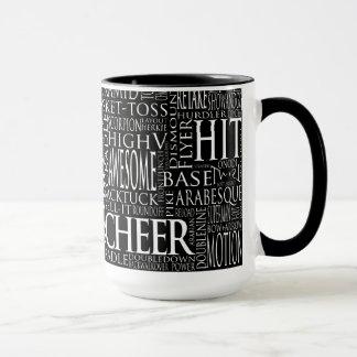 Cheerleading Word Cloud Mug in Black and White