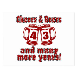 Cheers And Beers 43 Years Postcard