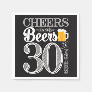 Cheers and Beers to 30 Years Cocktail Napkins Disposable Napkin