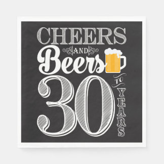 Cheers and Beers to 30 Years Luncheon Napkins Disposable Napkins