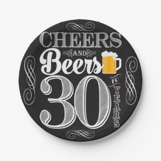 """Cheers and Beers to 30 Years Paper Plates 7"""" 7 Inch Paper Plate"""