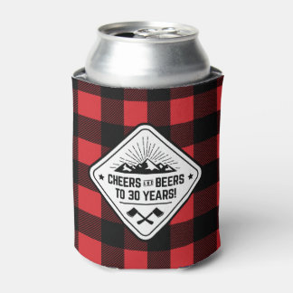 Cheers and Beers to 30 Years   Red Buffalo Plaid Can Cooler