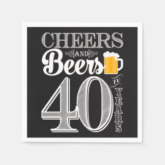Cheers and Beers to 40 Years Cocktail Napkins Paper Napkins