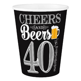 Cheers and Beers to 40 Years Paper Cup, 9 oz Paper Cup