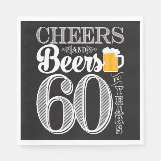 Cheers and Beers to 60 Years Luncheon Napkins Disposable Napkin