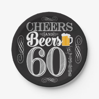 """Cheers and Beers to 60 Years Paper Plates 7"""" 7 Inch Paper Plate"""