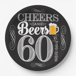 "Cheers and Beers to 60 Years Paper Plates 9"" 9 Inch Paper Plate"